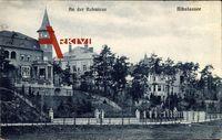 Berlin Steglitz Nikolassee, An der Rehwiese, Hausturm, Promenade