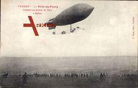 Verdun, Le Ville de Paris, évoluant au dessus du Parc à Ballon, Zeppelin
