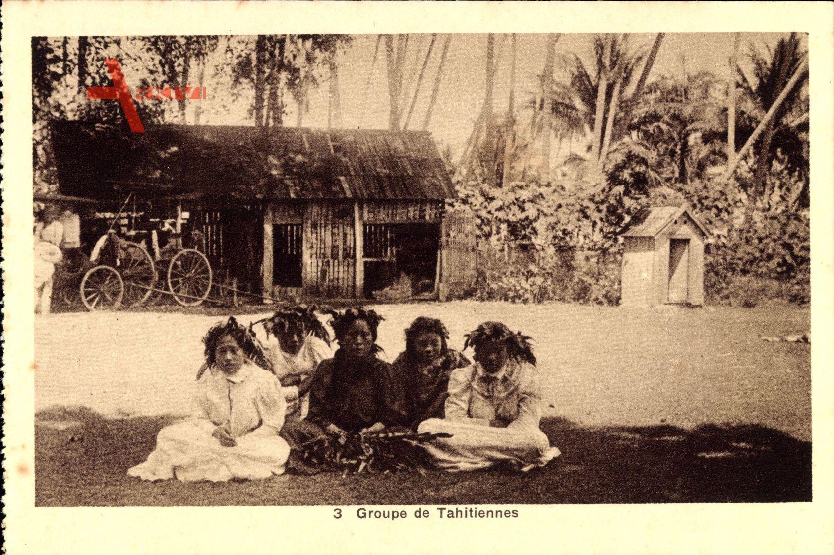 Groupe de Tahitiennes, Polynesien, Kinder mit Blumenkränzen