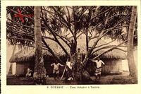 Tantira Tahiti, Case indigene, Einheimische, Strohhütten
