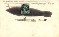 Départ pour Verdun du Dirigéable Ville de Paris, Pilote M. Kapferer, Zeppelin