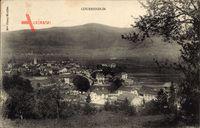 Courrendlin Kt. Jura, Gesamtansicht, Kirche, Berglandschaft