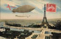 Paris, Dirigéable, Zeppelin über der Stadt, Eiffelturm, Riesenrad