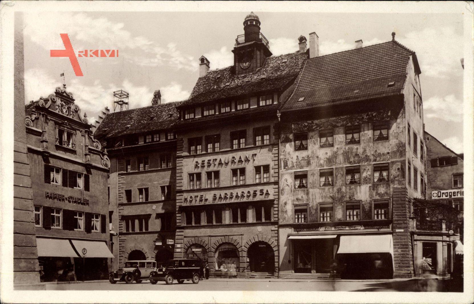 Konstanz am Bodensee, Historisches Hotel Barbarossa, Papier Stadler, Autos