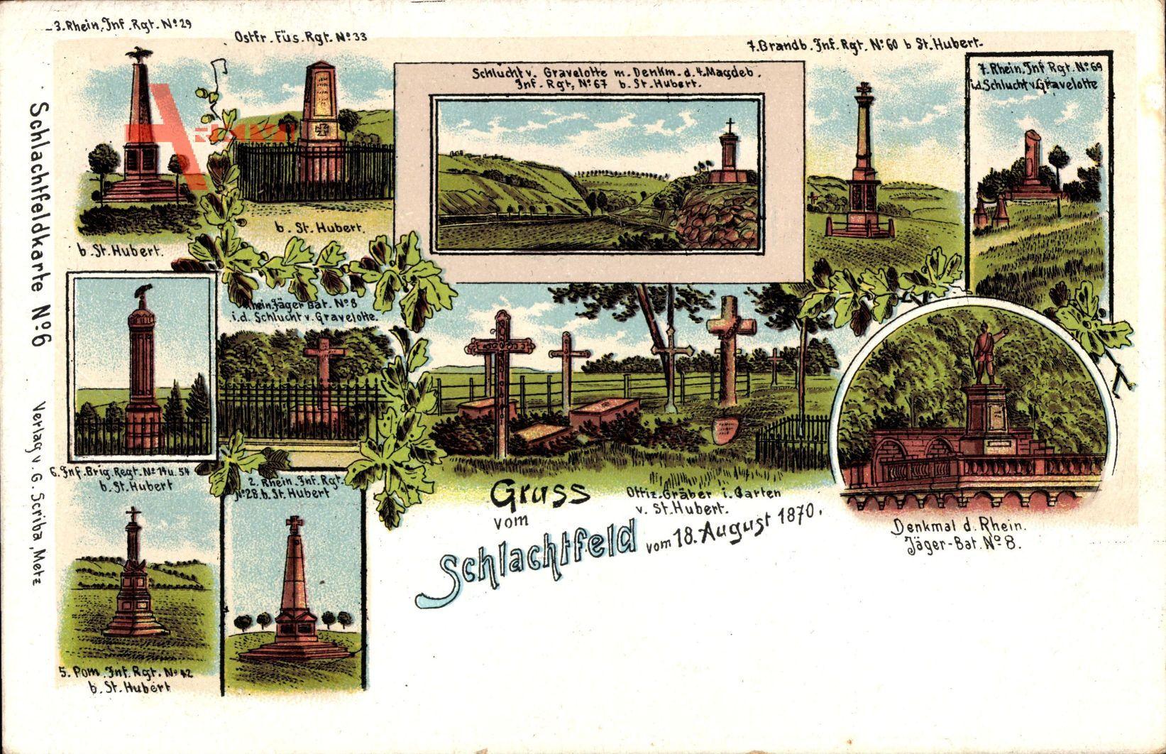 Schlachtfeld vom 18 August 1870, Kriegsdenkmäler, Schlachtfeldkarte No 6