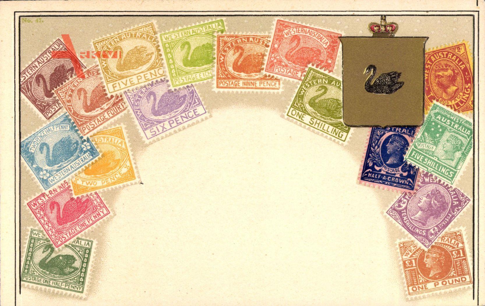 Briefmarken Western Australia, Australien, Six Pence