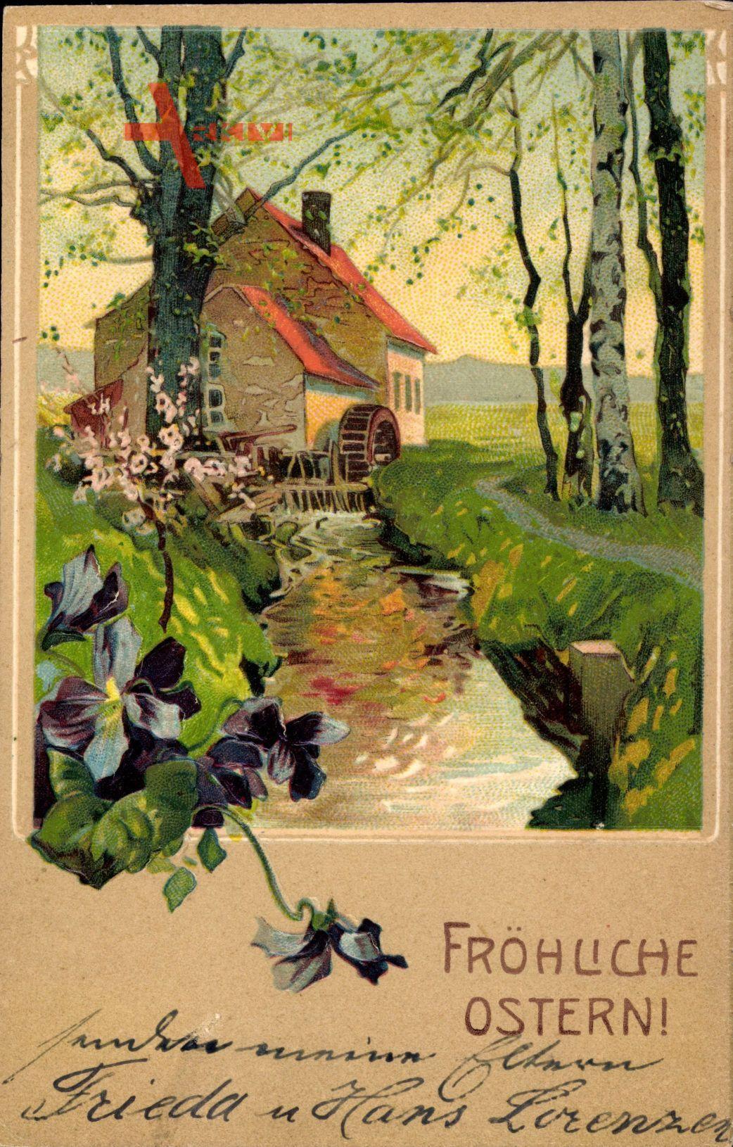Glückwunsch Ostern, Wassermühle, Frühling