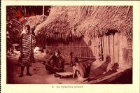 Un Xylophone primitif, Xylophon, Afrikanisches Dorf, Holzhütte