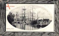 Passepartout Itzehoe in Schleswig Holstein, Hafenpartie mit Segelschiffen