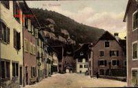 St. Ursanne Kt. Jura, Straßenpartie, Cafe Restaurant