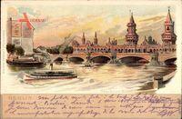 Berlin Friedrichshain, Spreepartie mit Blick auf Oberbaumbrücke, Dampfer
