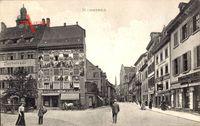 Konstanz am Bodensee, Straßenpartie, Hotel Barbarossa, A. Vies, Kutsche