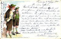 Oberbayrische Trachten, Karte 7, Männer in Trachten, Lederhosen