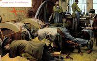 Inneres einer Achatschleiferei, Männer bei der Arbeit