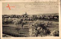 Grünstadt Rheinland Pfalz, Totalansicht der Stadt, Frühling, Felder, Kirche