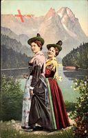 Zwei Frauen in Tracht, Geh'st a mit zum Tanz, Gruss aus den Alpen
