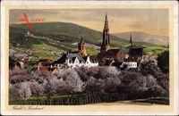Bühl in Baden, Totalansicht der Stadt, Kirche, Frühling, Baumblüte