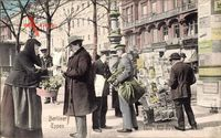 Berliner Typen, Zeitungsverkäufer, Blumenverkäuferin
