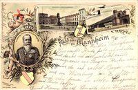 Mannheim, Großherzog Friedrich von Baden, Schloss mit Kaiserdenkmal