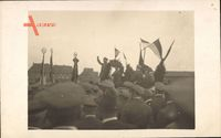 Aschersleben, Frontsoldatenzug Mai 1925, Fahnen, Versammlung