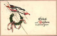 Glückwunsch Neujahr, Fahnen, Kranz, Patriotik Kaiserreich