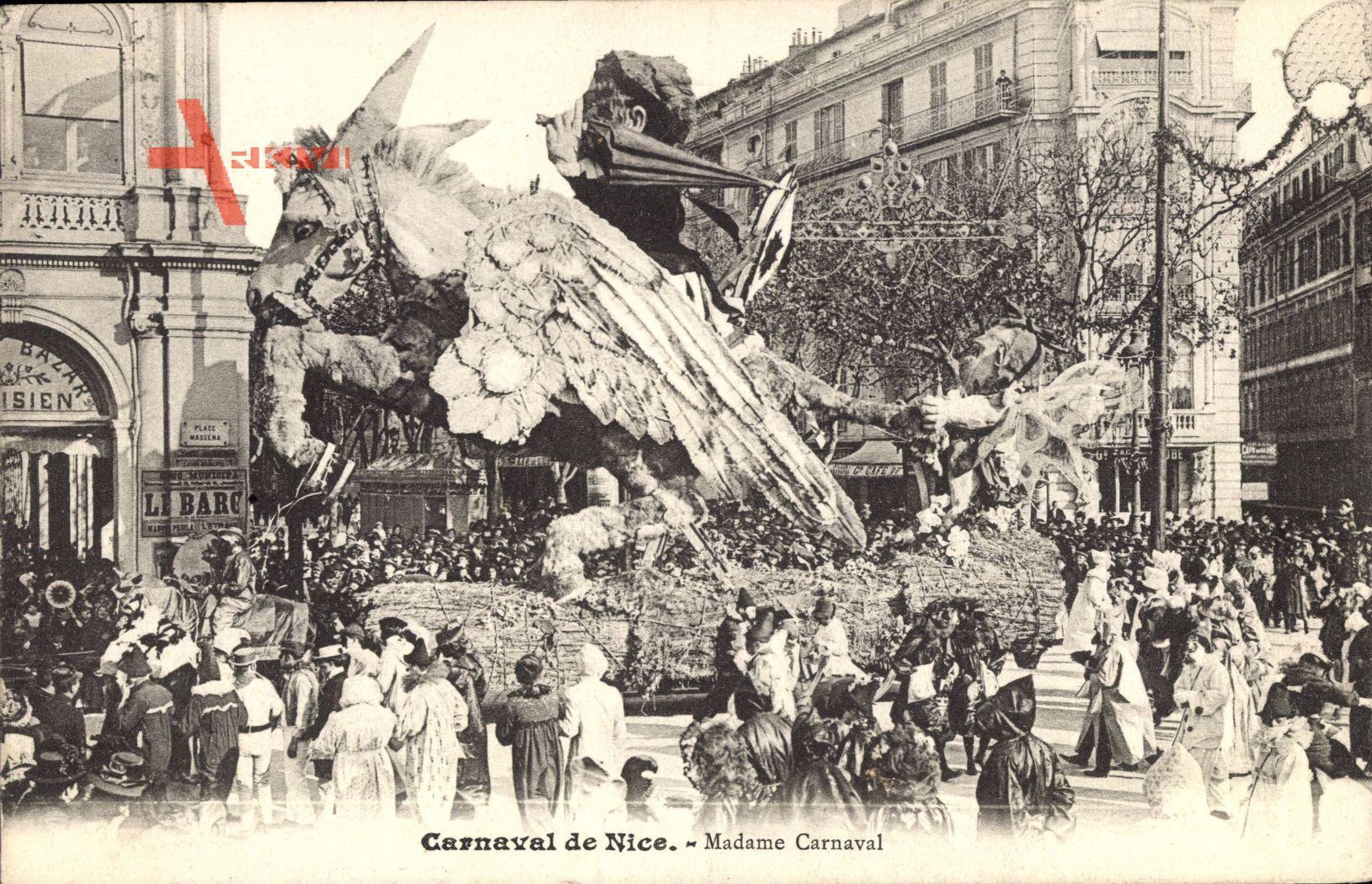 Nice Nizza Alpes Maritimes, Madame Carnaval, Umzug, Wagen, Pferd mit Flügeln