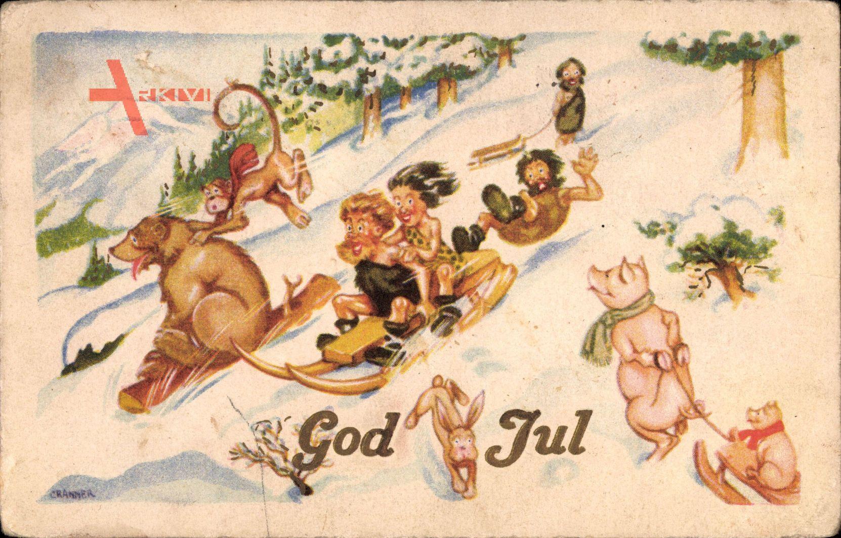 Frohe Weihnachten, Schlittenfahrt, Bär, Affe, Schweine, God Jul | xl