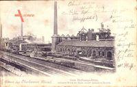 Oberhausen am Rhein, Gute Hoffnungs Hütte, Schornstein, Fabrik, Schienen