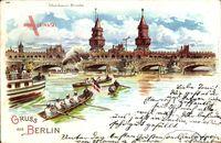 Berlin Friedrichshain, Blick auf die Oberbaum Brücke, Ruderboote, Dampfer