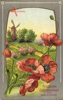 Glückwunsch Geburtstag, Mohnblüten, Frühling, Windmühle