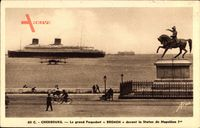 Cherbourg, Paquebot Bremen, Norddeutscher Lloyd Bremen, Statue de Napoleon