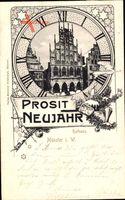 Münster in Westfalen, Blick auf Rathaus, Prosit Neujahr, Ziffernblatt