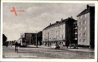 Berlin Köpenick, Partie in der Oberspreestraße, Wohnhäuser, Straßenbahn