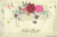 Materiel  Glückwunsch Pfingsten, Blumen, Rosen, Kitsch