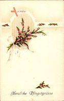 Herzliche Pfingstgrüße, Zweige mit rosa Blüten