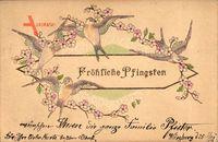 Glückwunsch Pfingsten, Schwalben und Blumenzweige