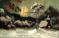 Glückwunsch Neujahr, Uhrzeit, Winteridyll, Kirche, Nacht, Mond