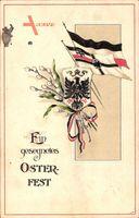 Glückwunsch Ostern, Kaiserreich, Patriotik, Weidenkätzchen