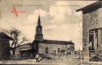 Ivoiry Jura, Straßenpartie mit Blick auf die Kirche, Wetsl. Kriegsschauplatz