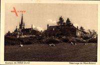 Jouhe Jura, Pelerinage de Mont Roland, Kühe auf der Weide, Kirchturm