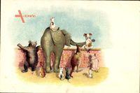 Tiere schauen über die Mauer, Elefant, Bär, Hund, Katzen, Känguru