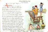 Vorläufer Westerland Sylt, Badegäste im Wasser, Frauenbad,Badekleider,1894