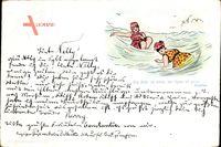 Vorläufer Frauen am Meer, Frauenbad, Wellen, Möwen, 1894