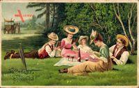 Glückwunsch Pfingsten, Picknick im Freien, Pferdekutsche