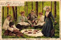 Glückwunsch Pfingsten, Picknick im Wald, Wurst