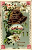 Glückwunsch Ostern, Glocken, Weiße Lilien, Frühling