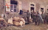 Europäischer Krieg 1914, Soldaten vor dem Feldpostamt