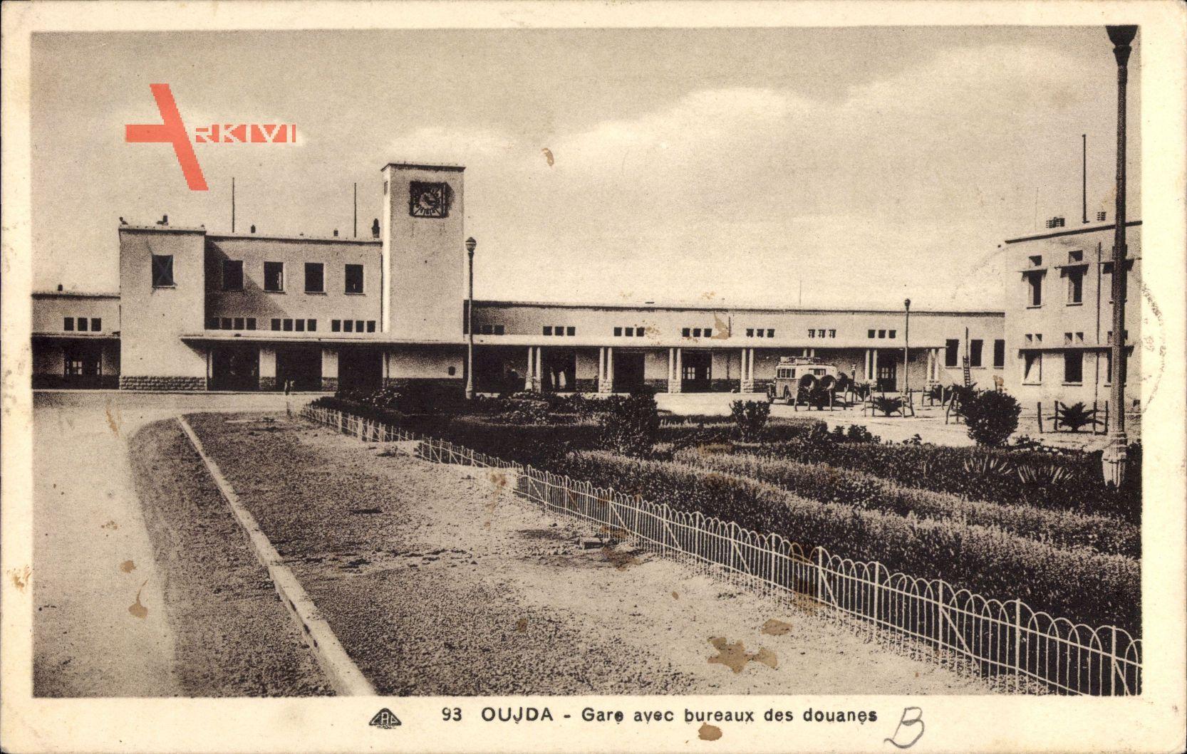 Oudjda oujda marokko gare avec bureaux des douanes bahnhof zoll