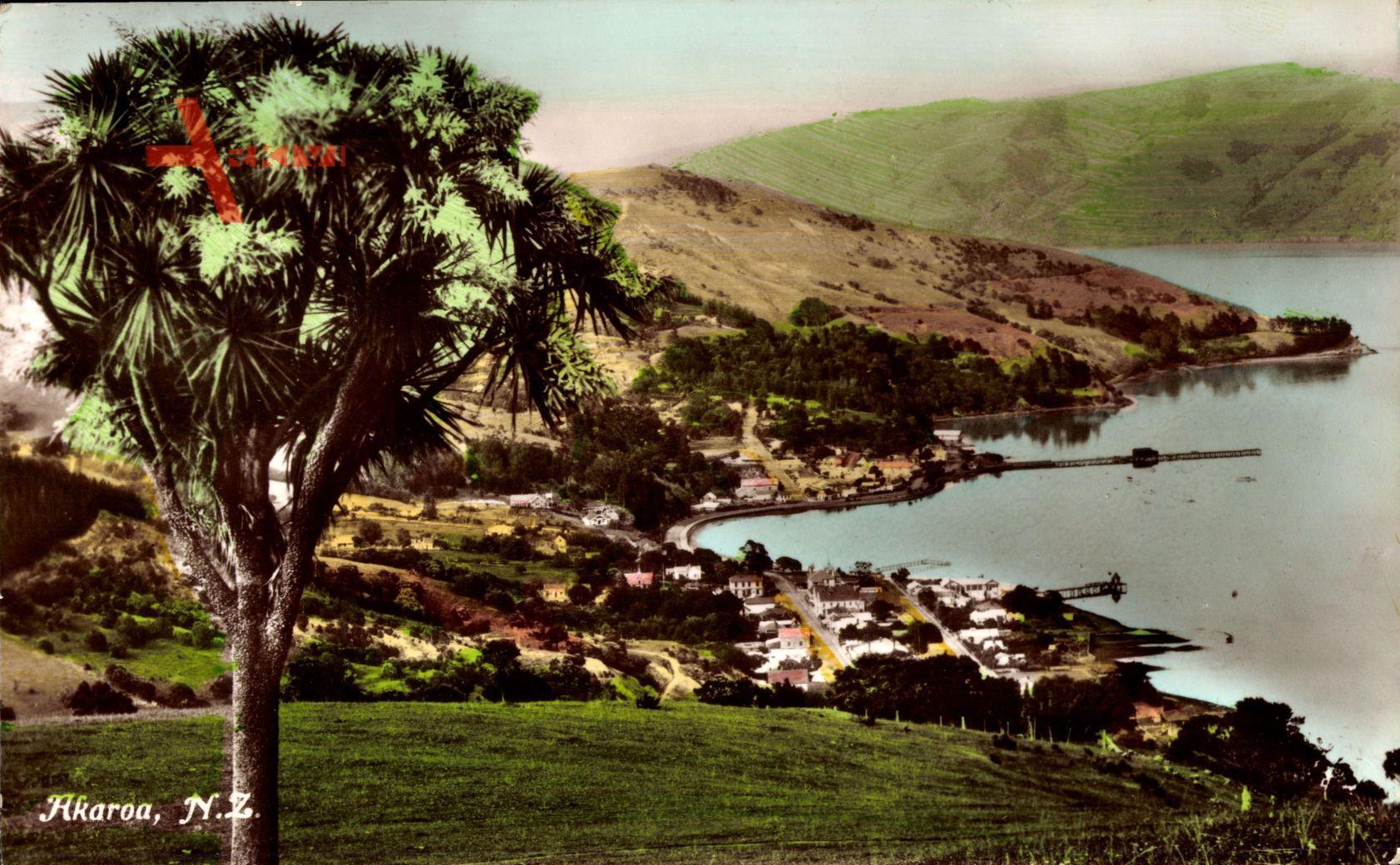 aroa Neuseeland, Totalansicht, Ort mit Hafen