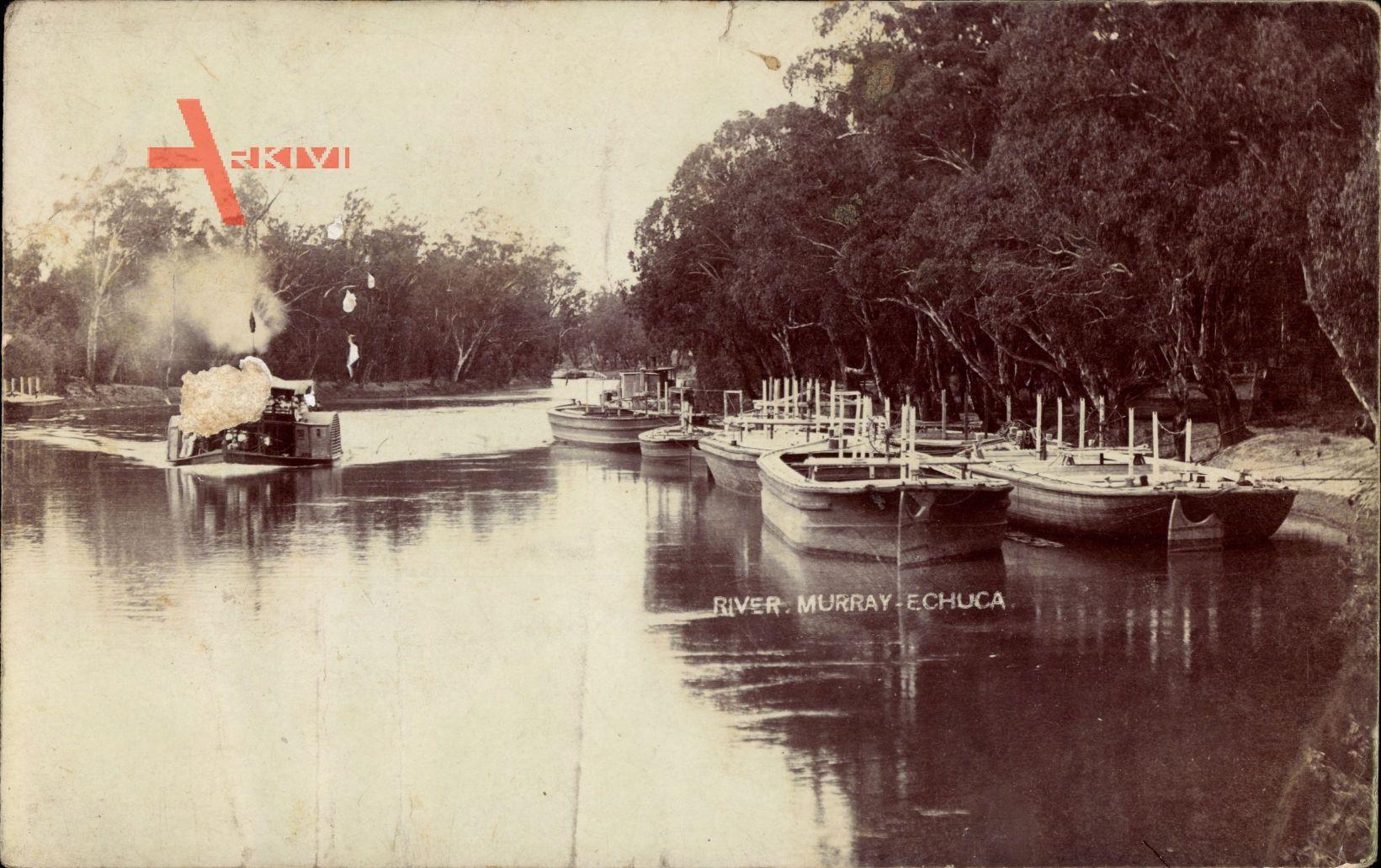 Echuca Australien, River Murray, Boote im Fluss